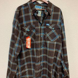 DIXXON Shirts - DIXXON Flannel - Pearl Snap - Brown/Blue/Tan